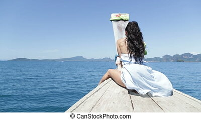 Beautiful Woman Sitting On Thailand Boat Nose Happy Smiling,...