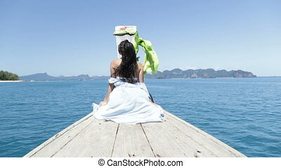 Beautiful Woman Sitting On Thailand Boat Nose In Sea,...