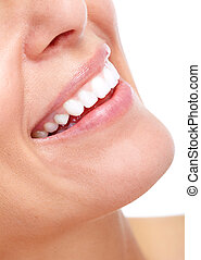 Beautiful woman smile and teeth. Isolated over white...
