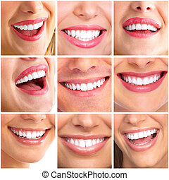 Beautiful woman smile collage.