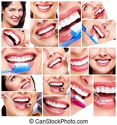 Beautiful woman smile collage. - Beautiful woman smile....