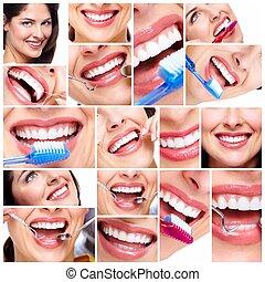 Beautiful woman smile collage. - Beautiful woman smile....