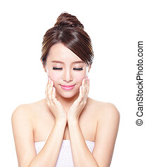 Beautiful woman smile face closed eye