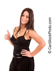 Beautiful woman smiling and showing Thumbs up