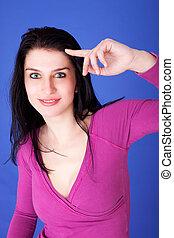 Beautiful Woman Smiling, having an idea, isolated on white, studio shot