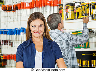 Beautiful Woman Smiling In Hardware Store