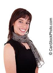 Beautiful Woman Smiling, isolated on white background. Studio shot