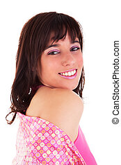 Beautiful Woman Smiling, isolated on white background. Studio shot.