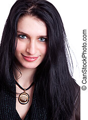 Beautiful Woman Smiling, isolated on white, studio shot
