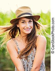 Beautiful woman smiling, Laughing, Fashion Lifestyle
