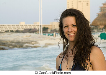 Beautiful Woman Smiling on Beach