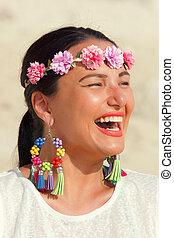 Beautiful woman smiling on beach