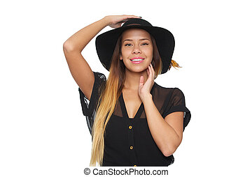 Beautiful Woman Smiling with Hat