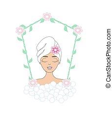 Beautiful woman spa card