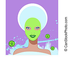 Beautiful woman. Spa Facial Mask.