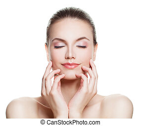 Beautiful Woman Spa Model with Nude Makeup. Perfect Face. Skincare, Beauty, Facial Treatment and Cosmetology