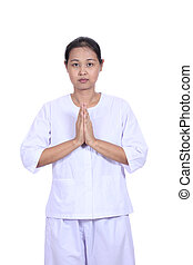 Beautiful  woman  standing in prayer position, meditating