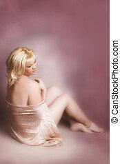 Beautiful Woman - Beautiful blond female covering herself...