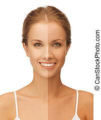 beautiful woman - bright closeup portrait picture of...