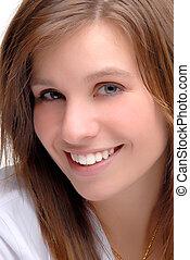 Beautiful Woman - A Close Up Of A Beautiful Brunette Young...