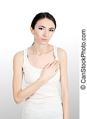 Beautiful Woman Suffering From Pain In Chest. Health Issues