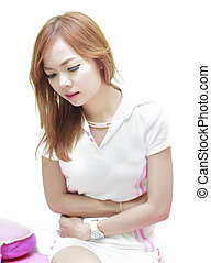 Beautiful woman suffering from stomachache on white isolated...