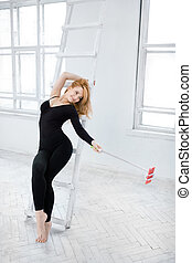 Beautiful woman taking a selfie in gym