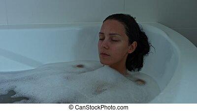 Beautiful woman taking bath. - Beautiful woman taking...
