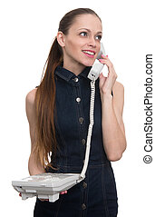 beautiful woman talking on telephone. Isolated