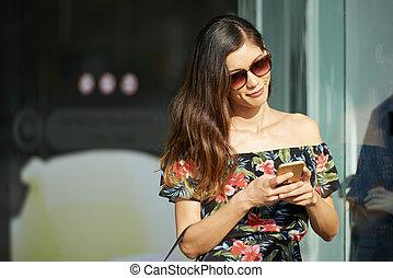 Beautiful Woman Texting