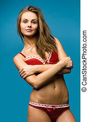 beautiful woman the red underwear.