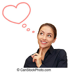 Beautiful woman thinking about love with heart bubble above isolated