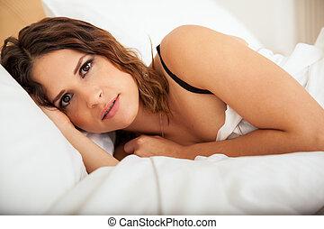Beautiful woman trying to sleep