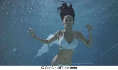 Beautiful woman underwater