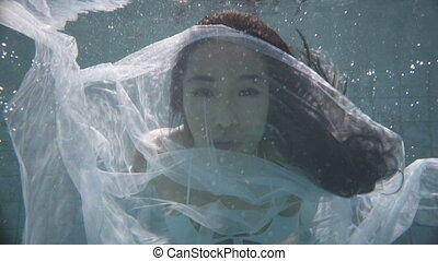 Beautiful woman underwater