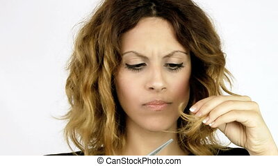 Beautiful woman unhappy of her hair
