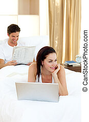 Beautiful woman using her laptop