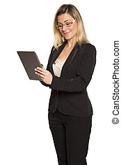 beautiful woman using tablet pc on white background