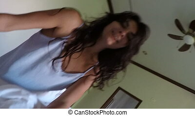 Beautiful Woman Waking Up Man Lying In Bed In Morning POV Young Couple In Bedroom