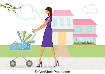 Beautiful woman walking with baby in pram