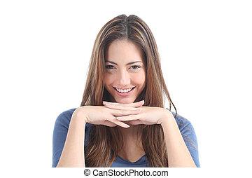 Beautiful woman watching with a penetrating gaze - Beautiful...