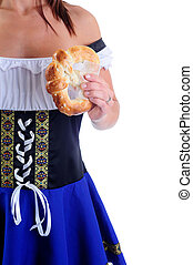 Pretzel - Beautiful Woman Wearing A Traditional Blue Dirndl...
