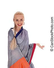Beautiful woman wearing an east Indian dress