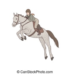 Beautiful woman wearing breeches, jacket and helmet riding horse. Professional female horseback rider, equestrienne. Cartoon character isolated on white background. Colorful vector illustration.