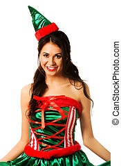 Beautiful woman wearing elf clothes