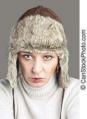Beautiful  Woman wearing Fur Hat