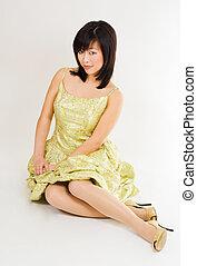 beautiful woman wearing gown