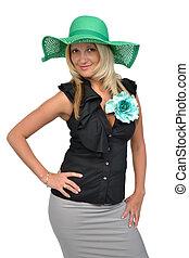 Beautiful woman wearing green hat