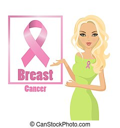 Beautiful woman wearing pink ribbons to raise awareness of breast cancer. Blonde hair.