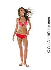 Beautiful woman wearing red bikini